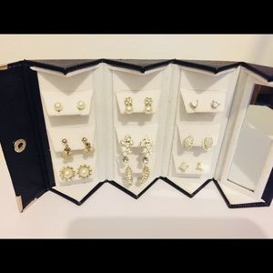 9 pairs of white gold plated post earring